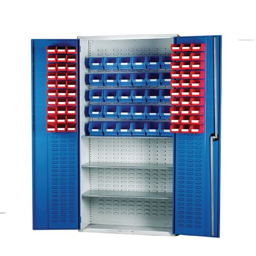 Louvred Panel Cabinet Cw 60xTc2 Red 30xTc3 Blue And 3 Shelves