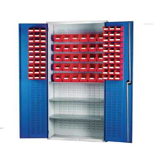 Louvred Panel Cabinet Cw 60xTc2 Red 30xTc3 Red And 3 Shelves