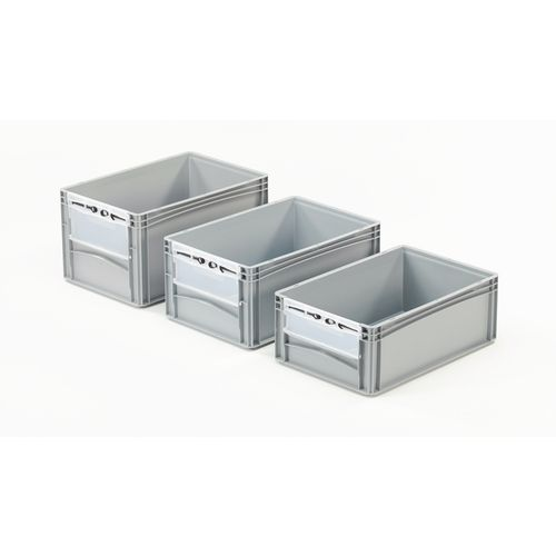 Basicline 600X400X320mm Open End Euro Container With Door