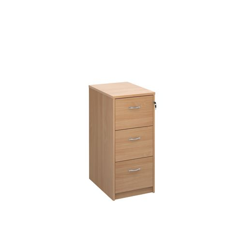 Deluxe Executive 3 Drawer Filing Cabinet In Beech Anti Tilt Fully Locking Supplied With Handles Accepts Foolscap Onl