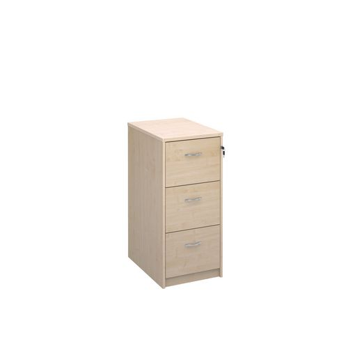 Deluxe Executive 3 Drawer Filing Cabinet In Maple Anti Tilt Fully Locking Supplied With Handles Accepts Foolscap Onl