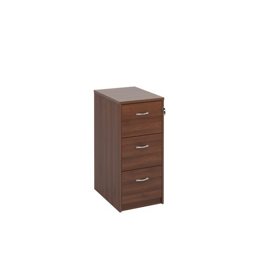 Deluxe Executive 3 Drawer Filing Cabinet In Walnut Anti Tilt Fully Locking Supplied With Handles Accepts Foolscap Onl