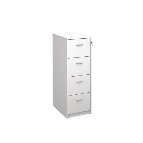 Deluxe Executive 4 Drawer Filing Cabinet In White Anti Tilt Fully Locking Supplied With Handles Accepts Foolscap Onl
