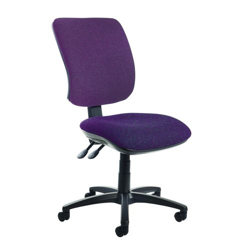 Senza High Back Operator Chair In Purple Gas Lift Adjustment Back Rake Tilt Adjustment Independent Seat Tilt Adjustm