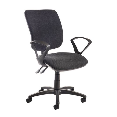 Senza High Back Operator Chair With Fixed Arms In Charcoal Independent Seat Tilt Adjustment Back Height And