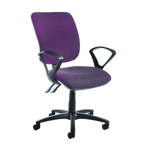 Senza High Back Operator Chair With Fixed Arms In Purple Independent Seat Tilt Adjustment Back Heigh