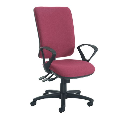 Senza High Back Operator Chair With Fixed Arms In Wine Independent Seat Tilt Adjustment Back Height