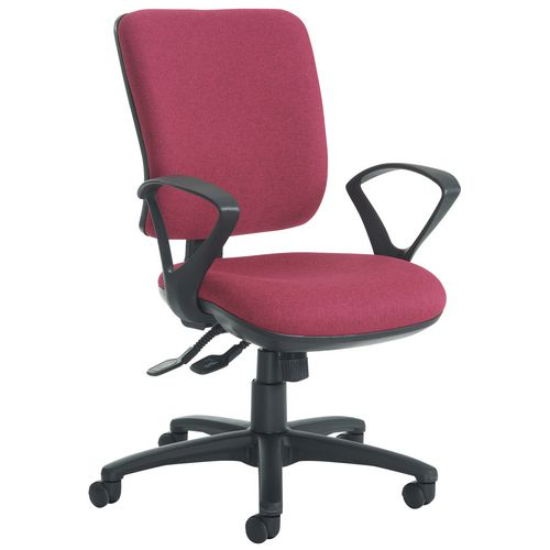 Senza High Back Operator Chair With Fixed Arms In Red Independent Seat Tilt Adjustment Back Height A