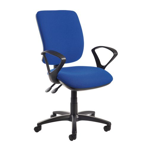 Senza High Back Operator Chair With Fixed Arms In Cobalt Independent Seat Tilt Adjustment Back Heigh