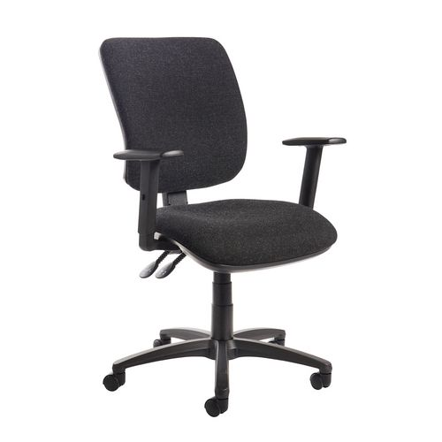 Senza High Back Operator Chair With Adjustable Arms In Charcoal Independent Seat Tilt Adjustment Back He