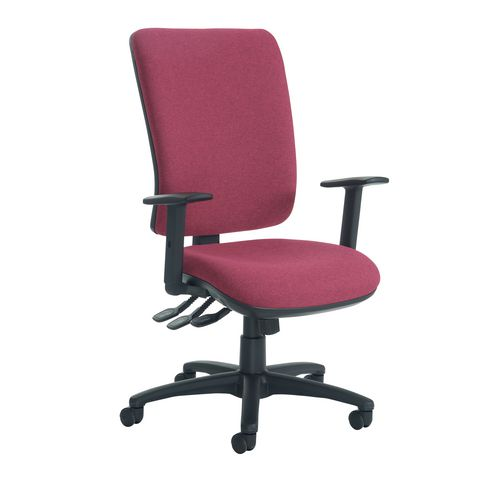 Senza High Back Operator Chair With Adjustable Arms In Wine Independent Seat Tilt Adjustment Back Hei