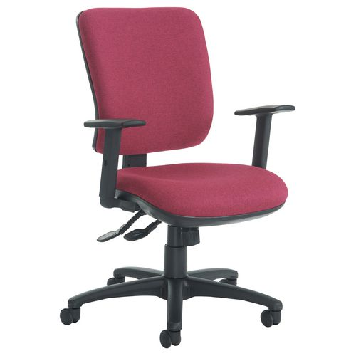 Senza High Back Operator Chair With Adjustable Arms In Red Independent Seat Tilt Adjustment Back Heigh