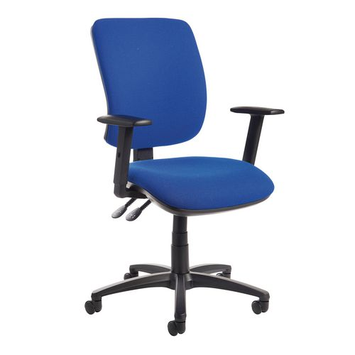 Senza High Back Operator Chair With Adjustable Arms In Cobalt Independent Seat Tilt Adjustment Back Heigh