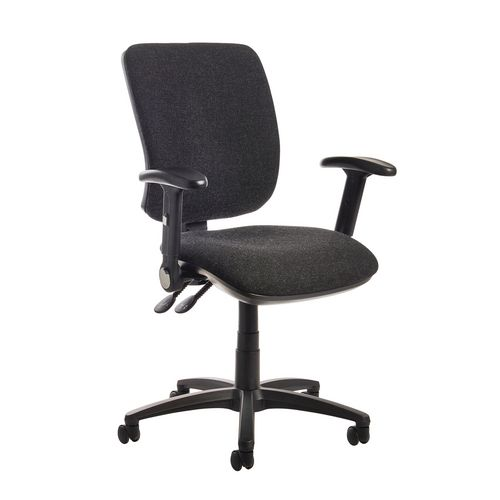 Senza High Back Operator Chair With Folding Arms In Charcoal Independent Seat Tilt Adjustment Back Height And