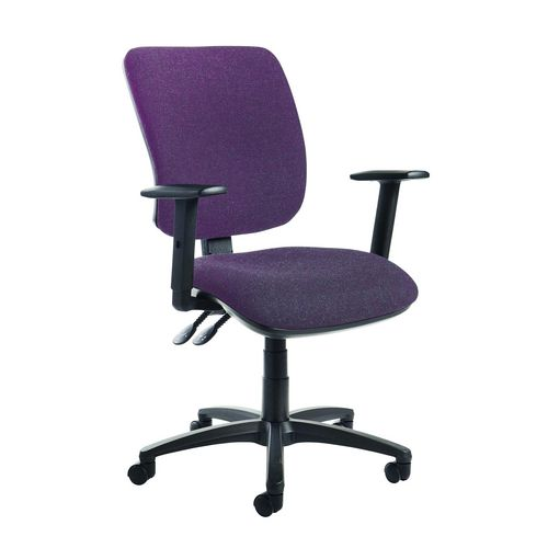 Senza High Back Operator Chair With Folding Arms In Purple Independent Seat Tilt Adjustment Back Heigh