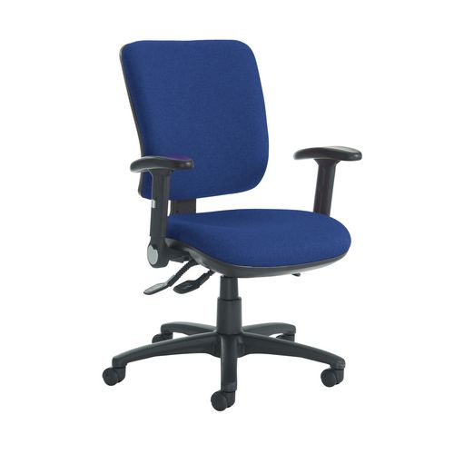 Senza High Back Operator Chair With Folding Arms In Cobalt Independent Seat Tilt Adjustment Back Heigh