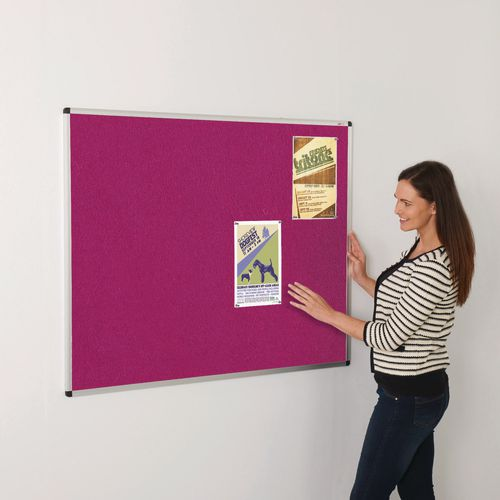 Colourplus Fabric Noticeboards 900x600mm (Hxw) Magenta