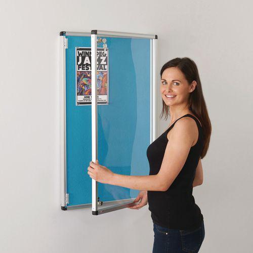 Colourplus Fabric Tamperproof Noticeboards 900x900mm (Hxw) Cyan