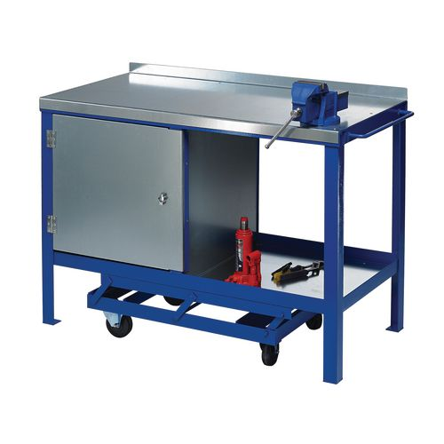 Heavy Duty Mobile Workbench 1500x750 With Cupboard