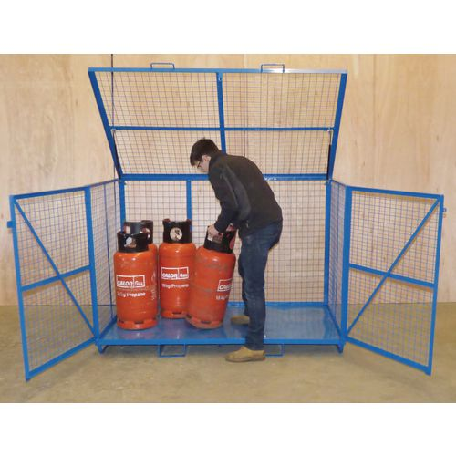 Mesh Security Cage With Hinged Lift Up Lid &Steel Base HxWxD mm: 1250x1860x1260