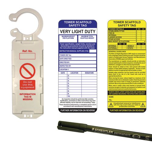 Tower Tag Kit  Single (1 Clawtag Holder 2 Inserts &1 Pen)