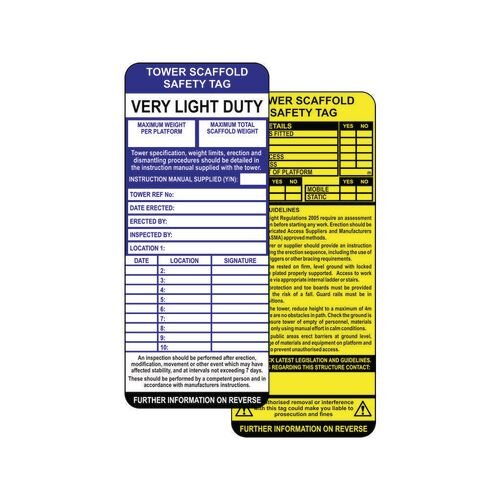 Tower Scaffold Safety Tag Inserts (Pack Of 10)