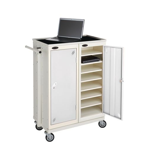 Low 8 Shelf Storage Lockers Supplied With Mobile Trolley White Body &Red Door