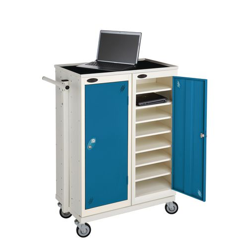 Low 8 Shelf Charge And Storage Lockers Supplied With Mobile Trolley White Body &Blue Door