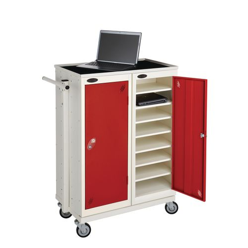 Low 8 Shelf Charge And Storage Lockers Supplied With Mobile Trolley White Body &Red Door