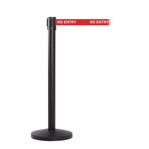 Queuemaster 550 Black Post 3.4M No Entry Red Webbing With White Print