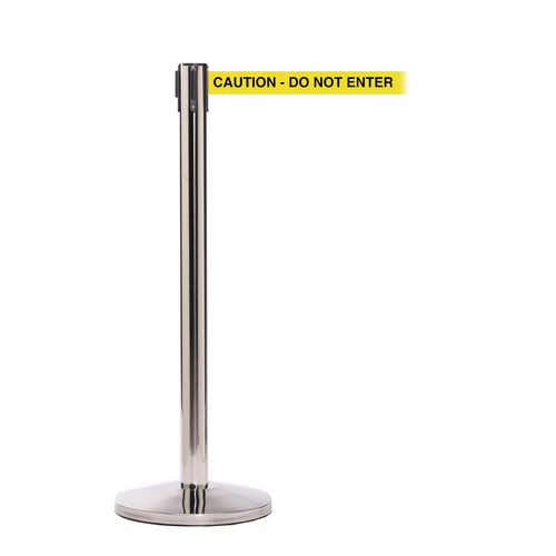 Queuemaster 550 Pol Stain Post 3.4M Caution Do Not Enter Yellow Webbing With Black P