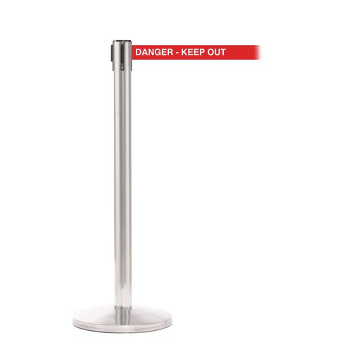 Queuemaster 550 Satin Stain Post 3.4M Danger Keep Out Red Webbing With White Print