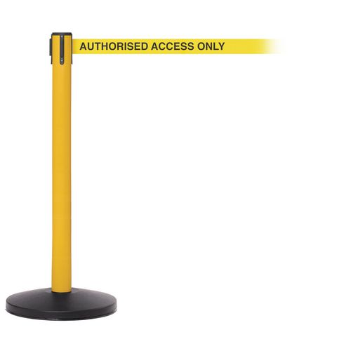 Safetymaster 450 Yellow Post 3.4M Authorised Access Only Yellow Webbing With Black Print Pack2