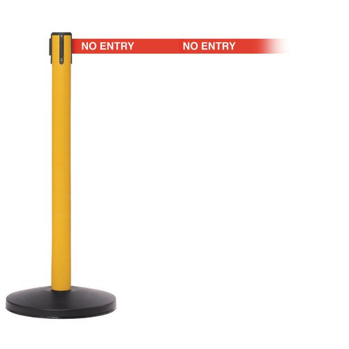 Safetymaster 450 Yellow Post 3.4M No Entry Red Webbing With White Print Pack2