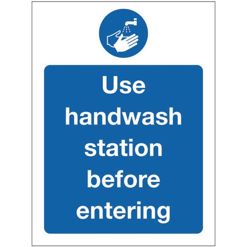 Sign Use Handwash Self-Adhesive Vinyl 300x100