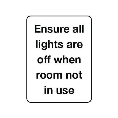 Sign Ensure All Lights Self-Adhesive Vinyl 75x100