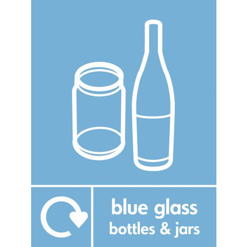 """Recycling Sign """"Blue Glass Bottles"""" Self-Adhesive Vinyl 150x200mm"""