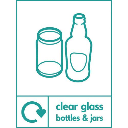 """Recycling Sign """"Clear Glass Bottles"""" Self-Adhesive Vinyl 210x300mm"""
