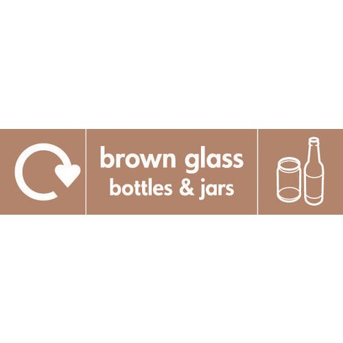 """Recycling Sign """"Brown Glass Bottles"""" Self-Adhesive Vinyl 350x100mm"""