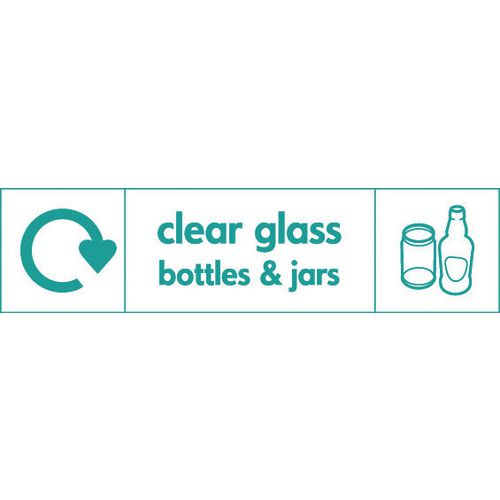 """Recycling Sign """"Clear Glass Bottles"""" Self-Adhesive Vinyl 350x100mm"""