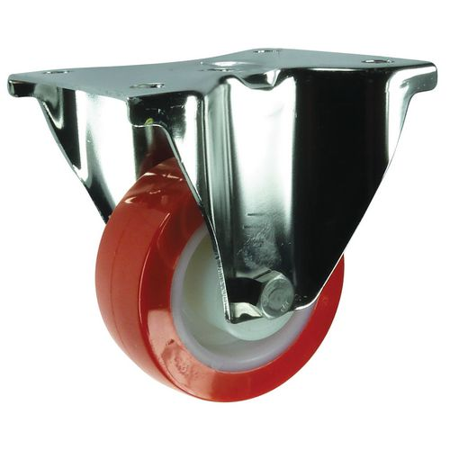 Plate Fixing Stainless Steel Fixed Castor 160mm Poly Tyred Wheel
