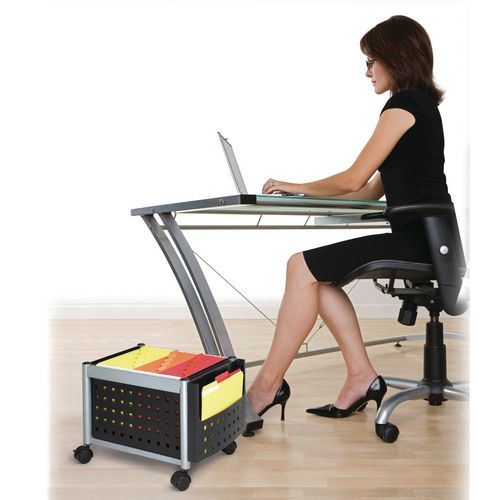 Scoot Under Desk Mobile File Cart (Foolscap) Black (Bl)