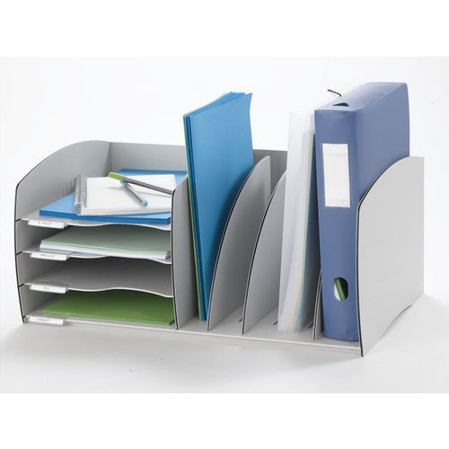Fast Paper Desktop Office Organiser 4 Compartment Grey