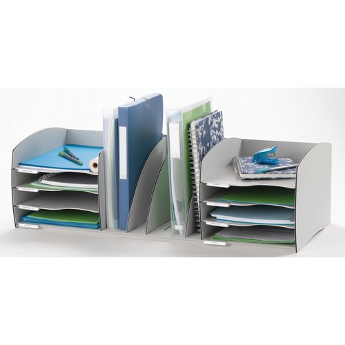 Fast Paper Desktop Office Organiser 8 Compartment Grey