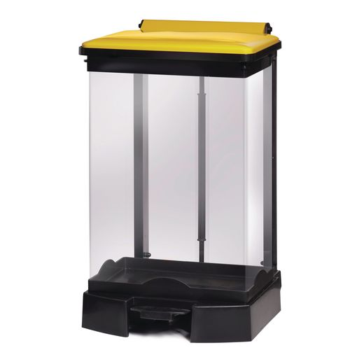 65 Litre All Plastic Removable Clear Body Fire Retardant Sack Holder Yellow Lid
