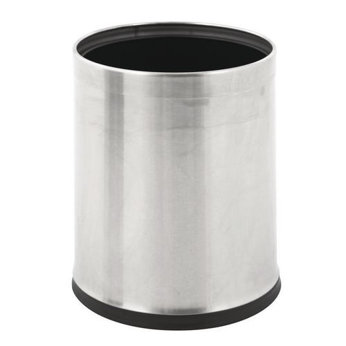 10 Litre Metal Waste Paper Bin Matt Stainless Steel Finish