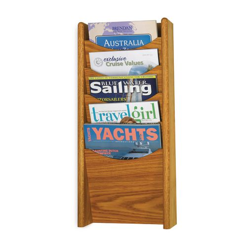 Oak Wall Literature Dispenser 5 Pockets