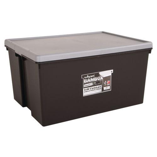 Wham Bam 150L Heavy Duty Box &Lid Black/Silver