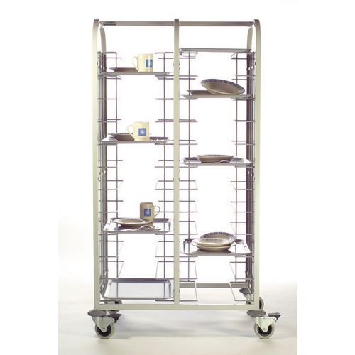 Double Column 12 Level Tray Clearing Trolley Stainless Steel