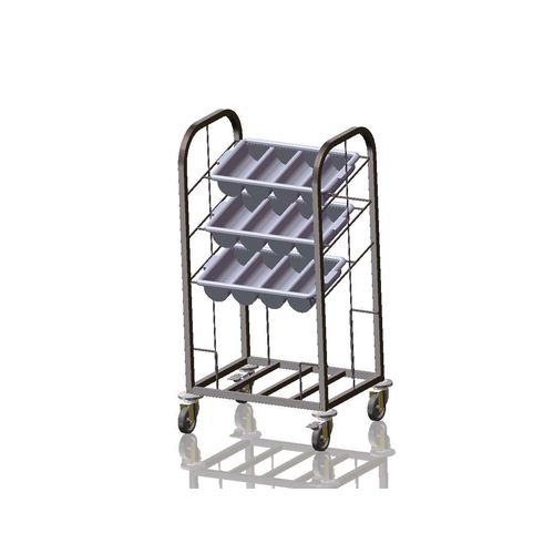 Three Bin Cutlery &Tray Dispense Trolley Stainless Steel